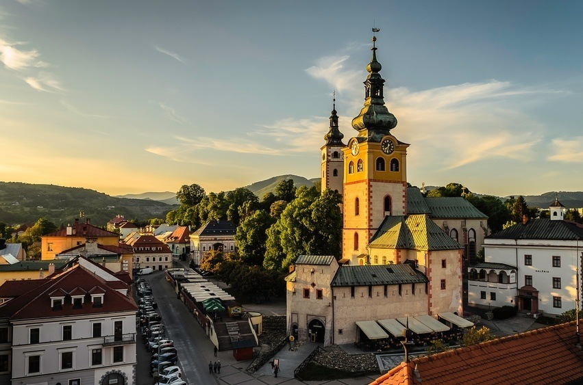 town slovakia tower steeple hill old city