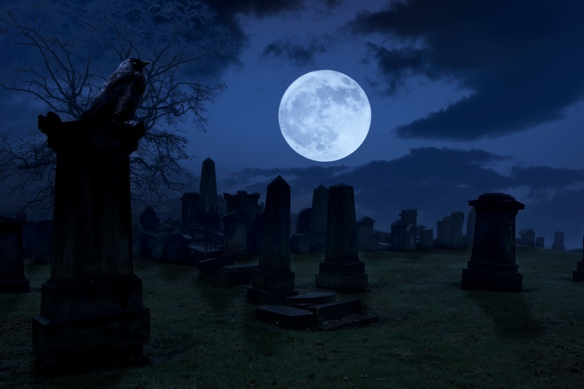 cemetery moon creepy night