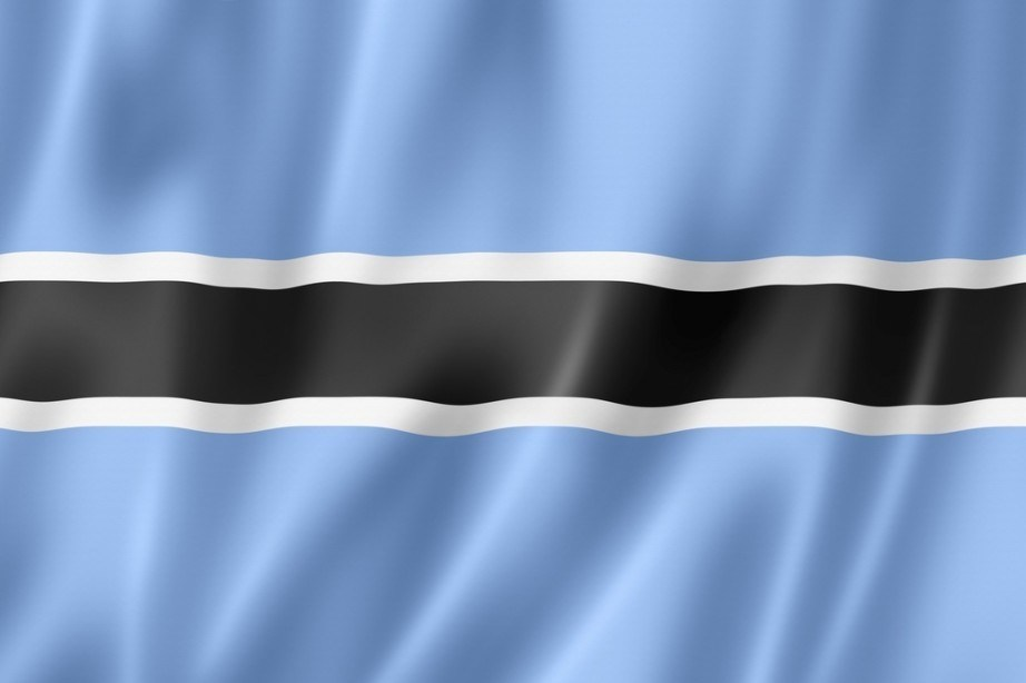 botswana flag blue black white line