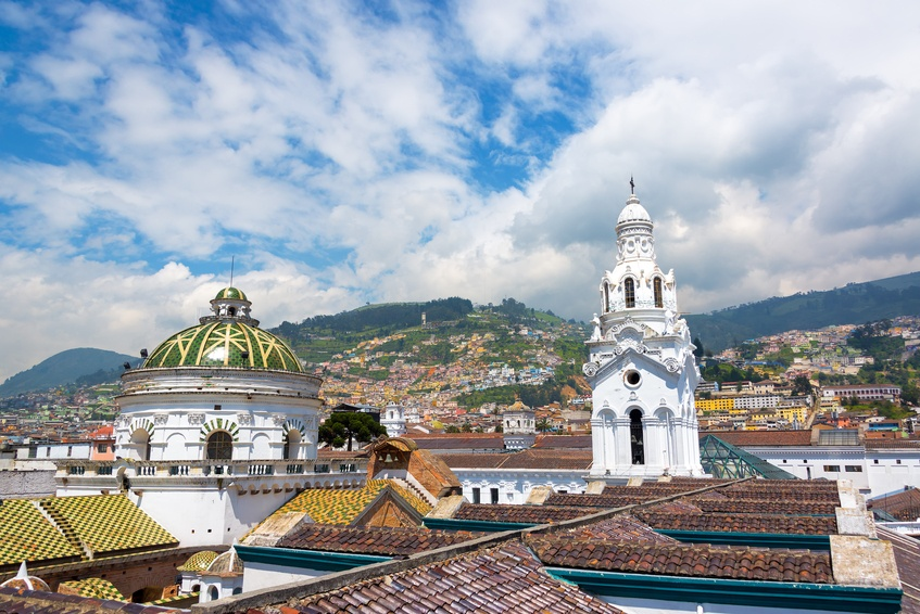 ecuador quito church colonial mountains old town city
