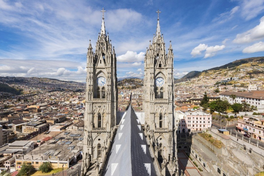 ecuador tourism cathedral quito old city colonial day mountains