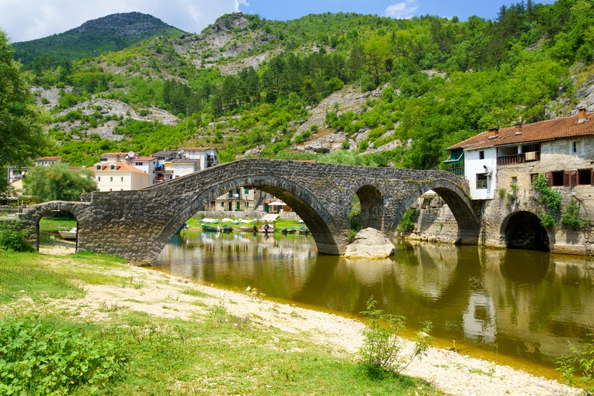 bridge montenegro rural town day river stream