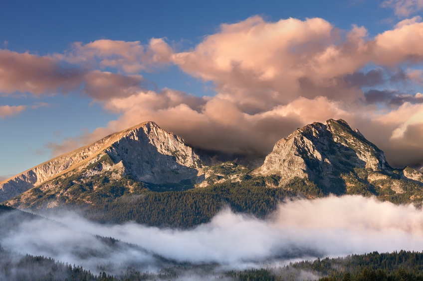 durmitor national park mountains montenegro clouds peaks tall