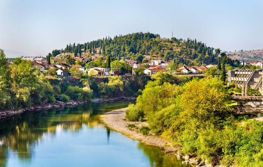 podgorica montenegro capital river bank trees green city