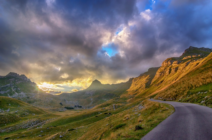 montenegro durmitor national park mountains lonely road sky landscape