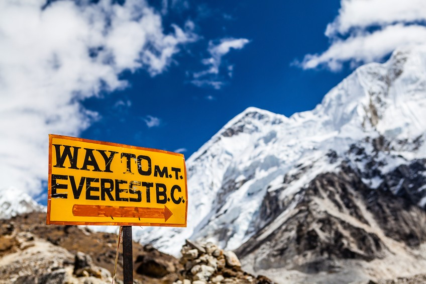 nepal everest sign mountain himalaya trekking hiking camp