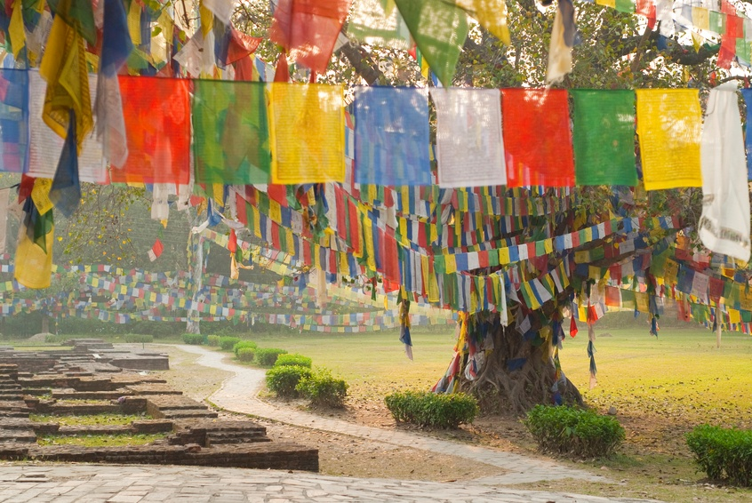 lumbini nepal buddhist buddhism flags colorful south
