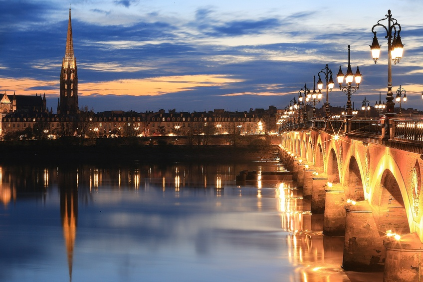 bordeaux france bridge tower night lights classical