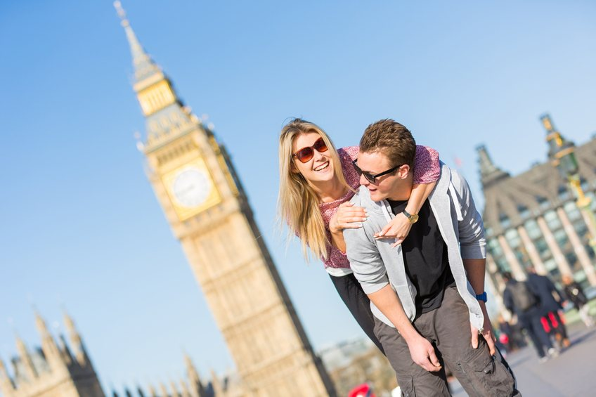 tourism couple london big ben happy travel
