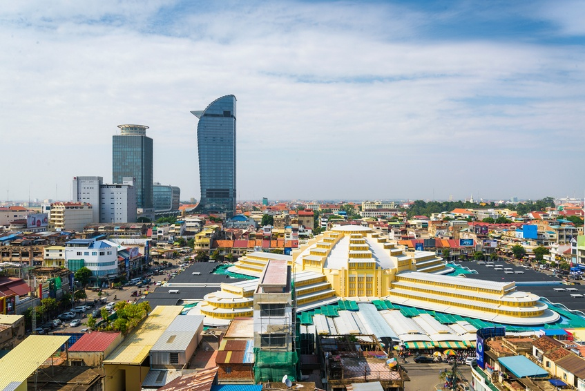 phnom penh city cambodia skyscrapers towers