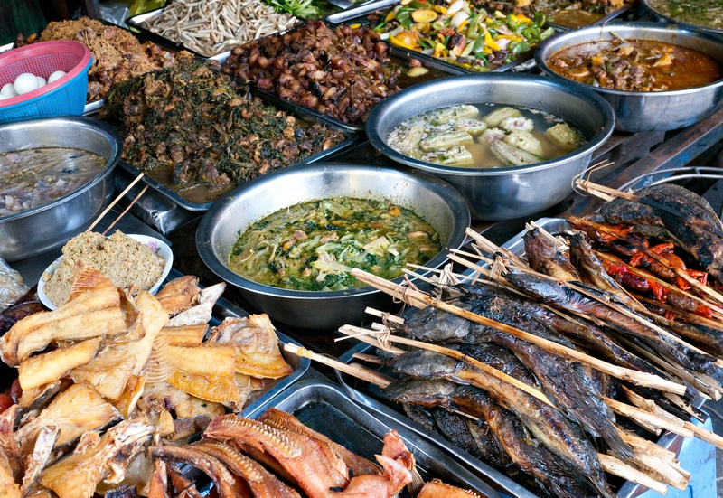cambodia market food meat vegetables