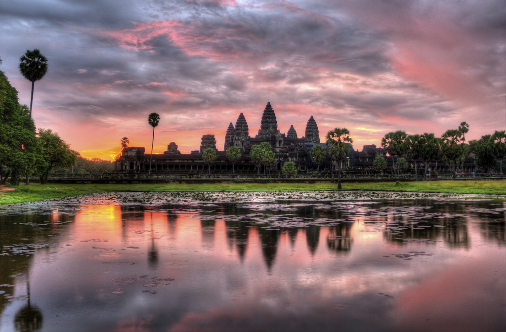 angkor what temple dusk water cambodia