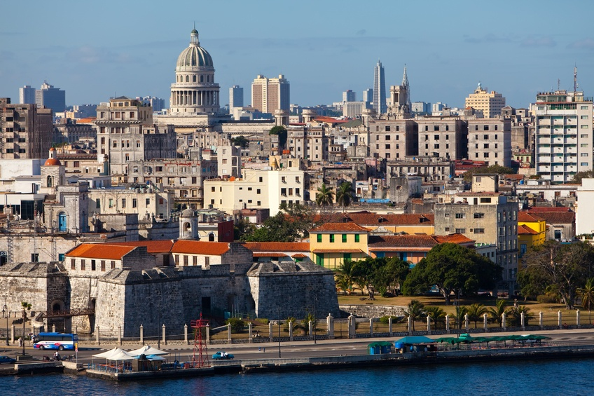 havana cuba city harbor old town dome
