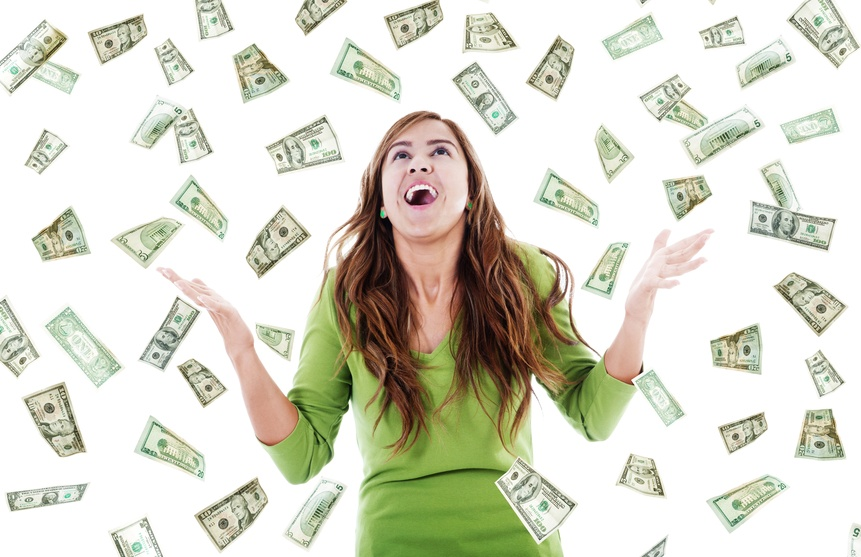 cash windfall woman happy prize us dollars