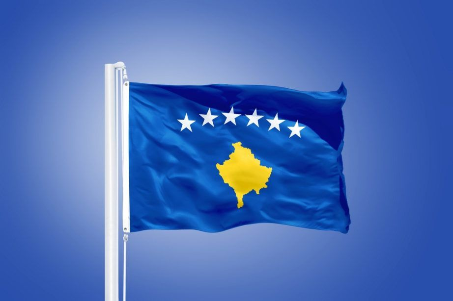 kosovo flag stars map waving pole
