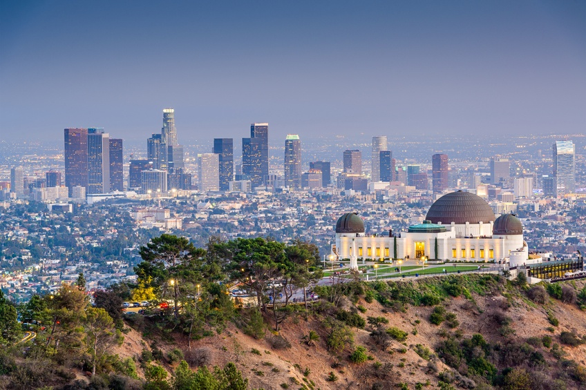 los angeles california city skyline skyscrapers observatory hill