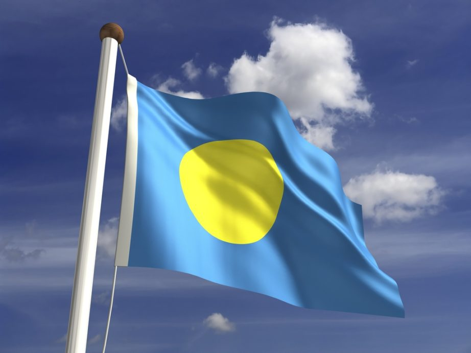 palau flag yellow blue moon waving