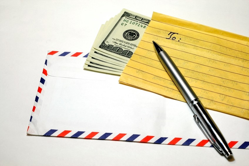remittance envelope pen note sending money