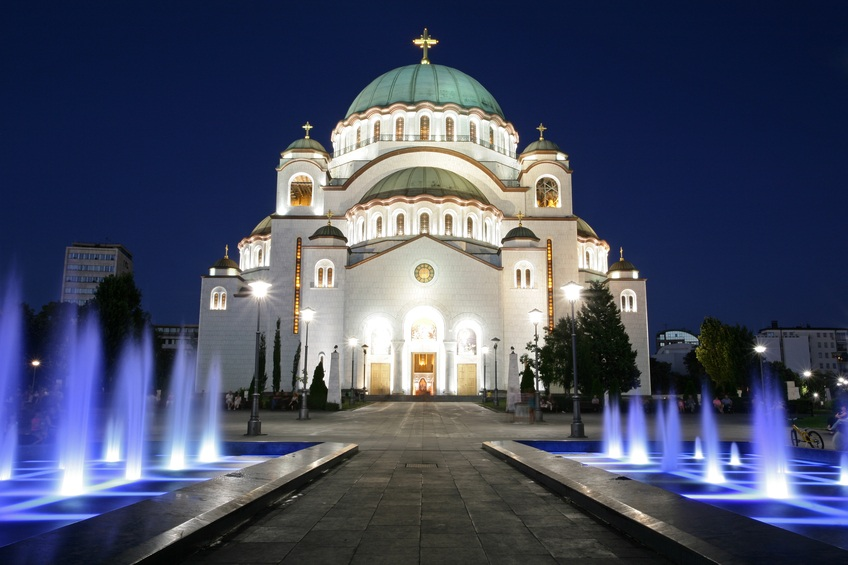 serbia church eastern orthodox lights
