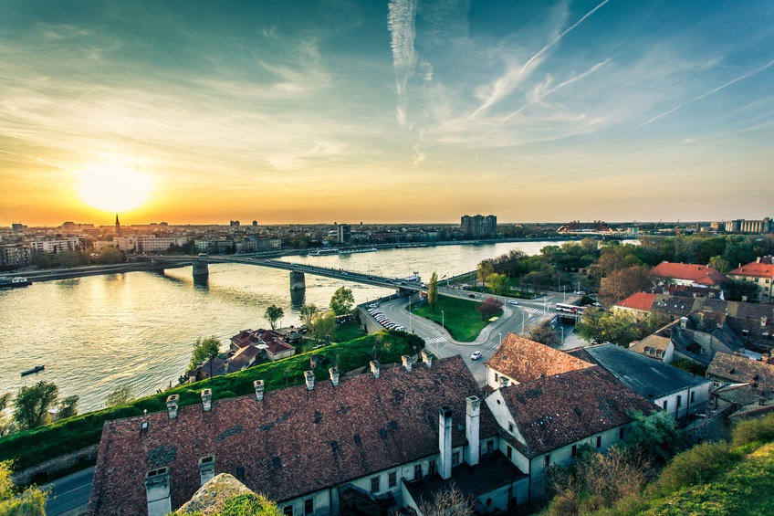 novi sad serbia river bridge city sunset