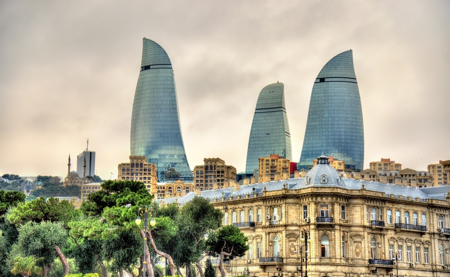 azerbaijan baku city skyscrapers towers