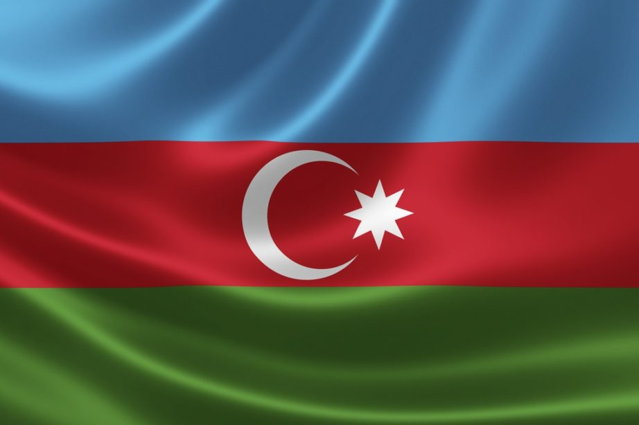azerbaijan flag red blue green crescent star