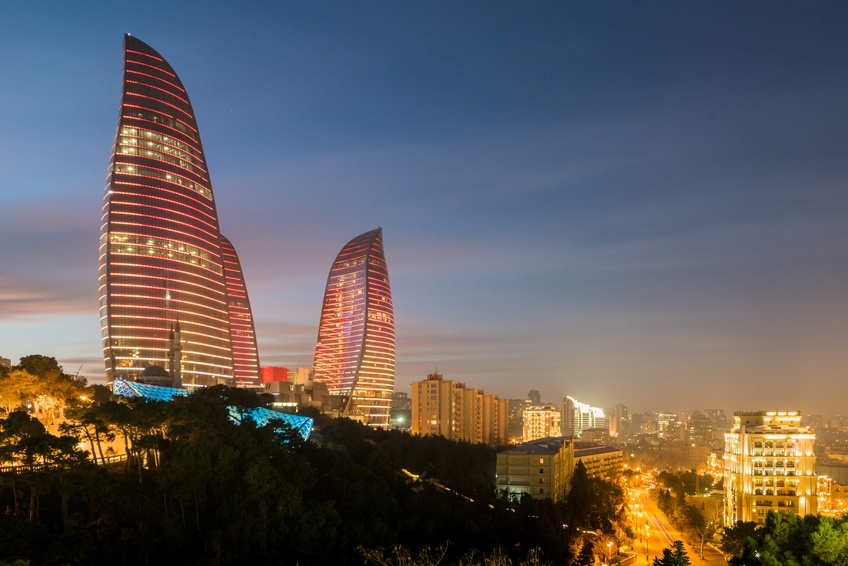 azerbaijan flame towers city night lights