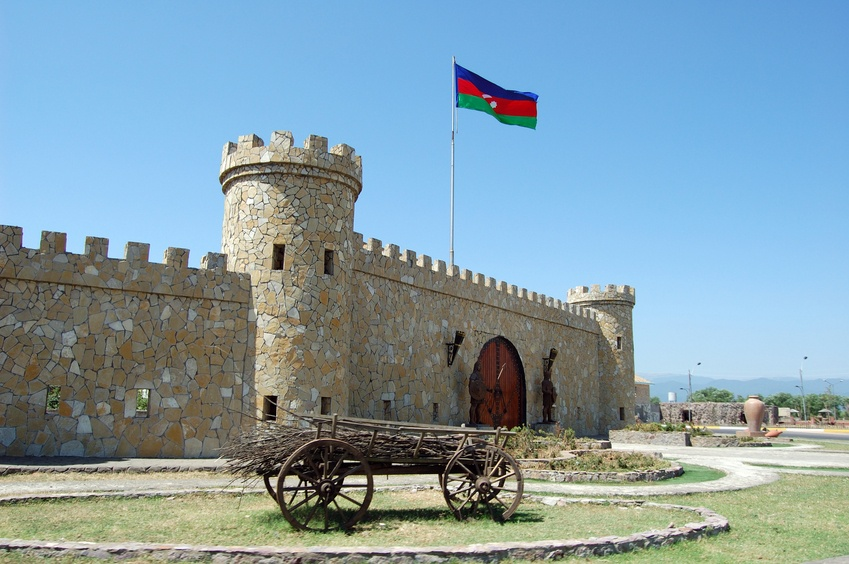lankaran fort azerbaijan cart flag historic