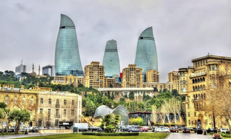 azerbaijan tourism baku flame towers centre town