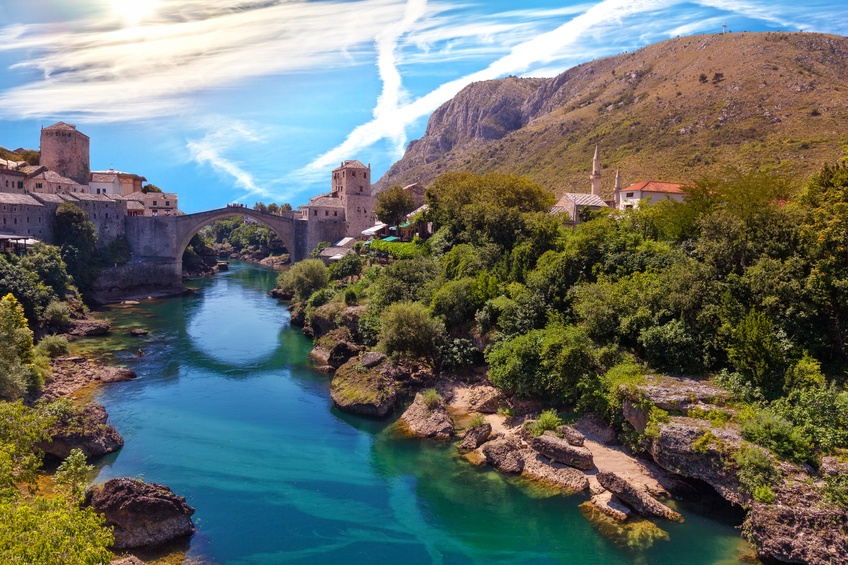 mostar bosnia herzegovina old bridge city river hills