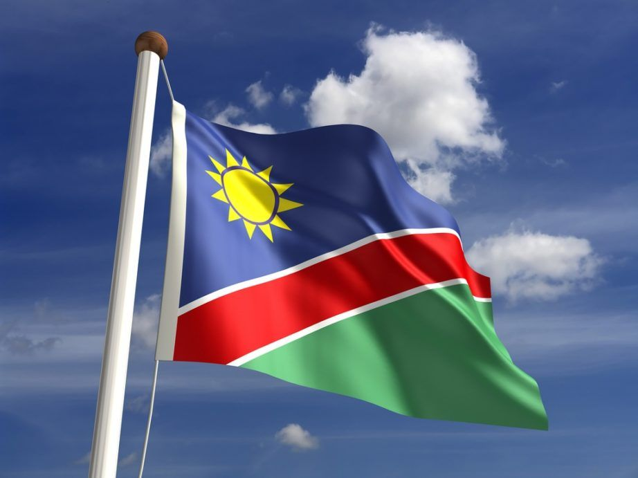 namibia flag red green blue sun yellow