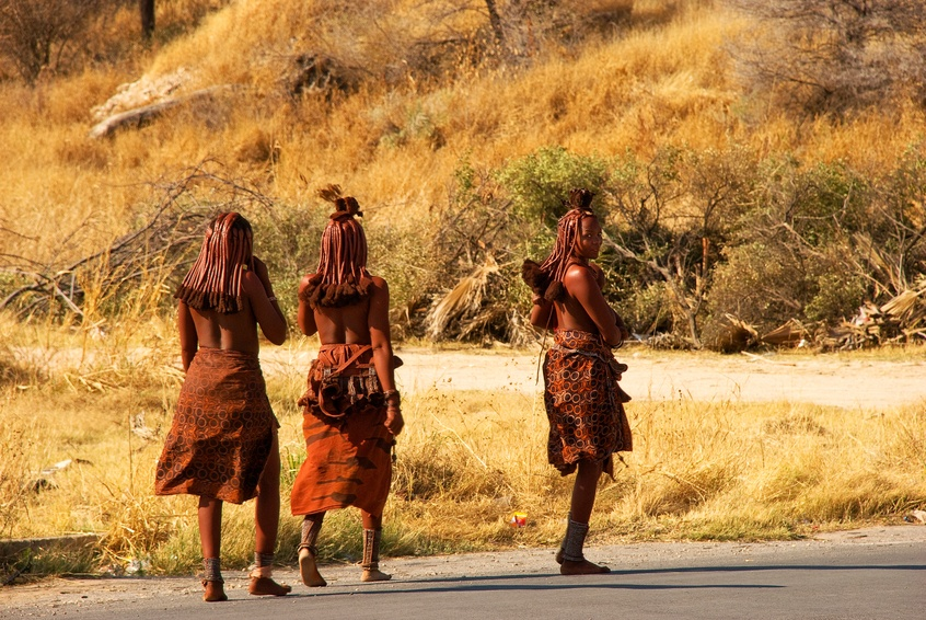 namibia people tribal women walking three
