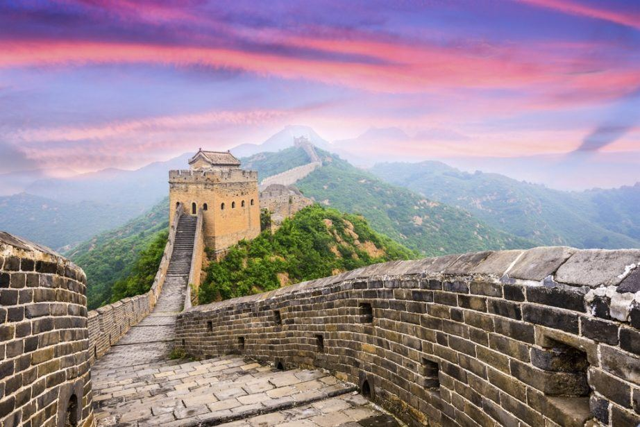 seven wonders of the world great wall china sunset purple sky landmark