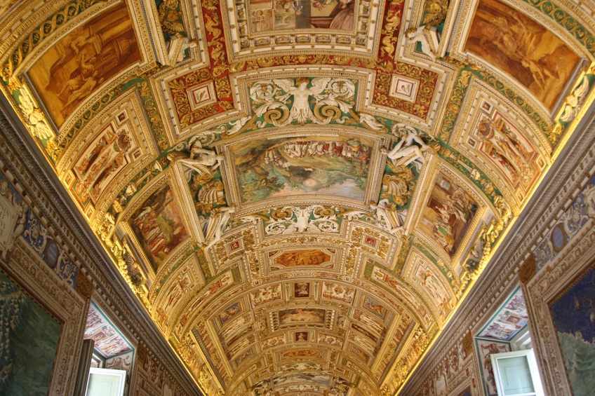 museum vatican ceiling city rome italy catholic church