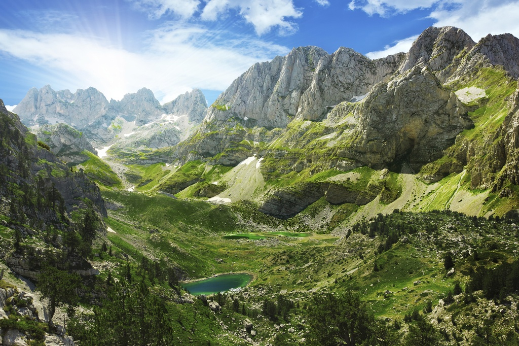 albanian alps accursed mountains landscape lake nature