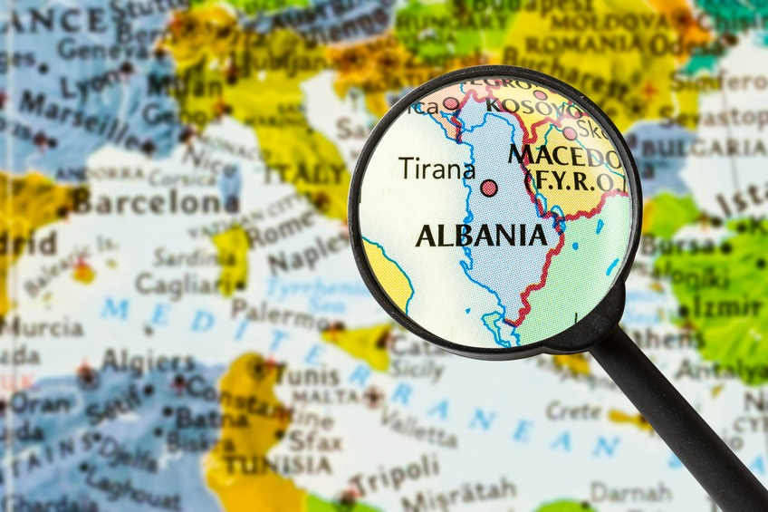 albania map magnifying glass balkans europe mediterranean adriatic tirana