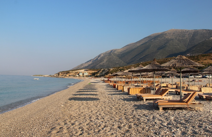albanian riviera sand beach chairs resort albania
