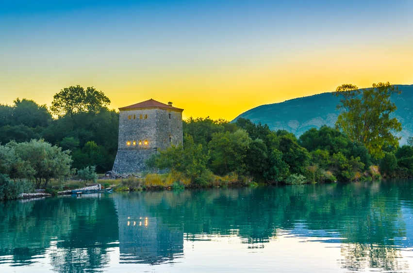 albania tower lake sunset nature landscape