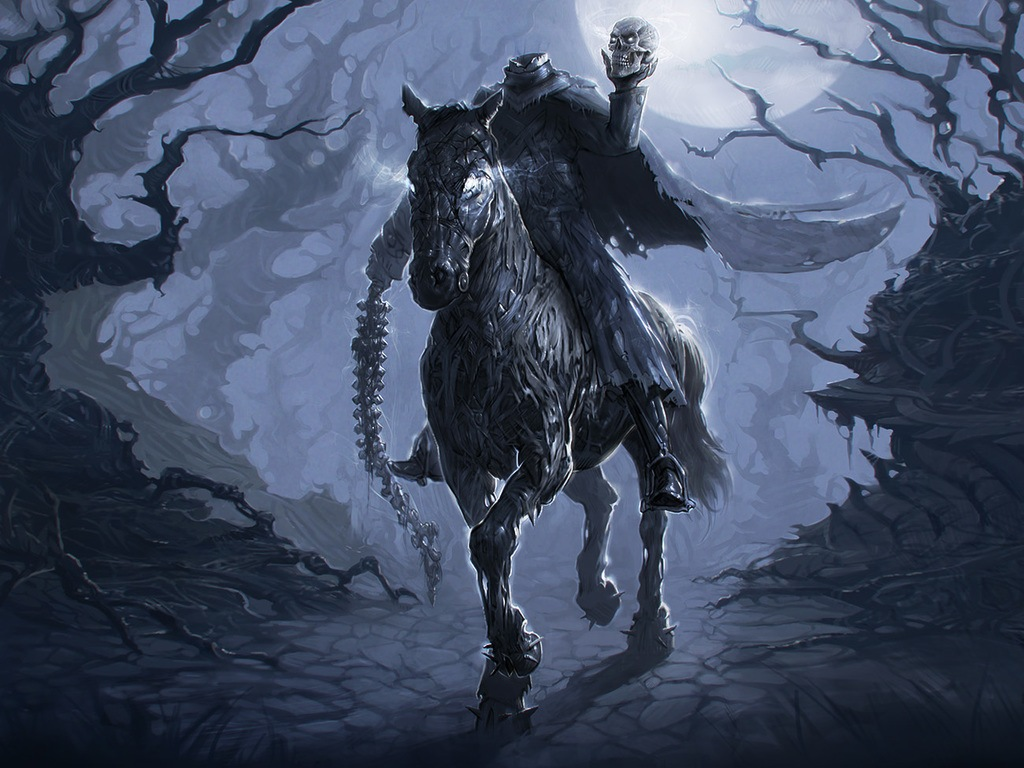 dullahan headless horseman irish skull bone spine moon night monster