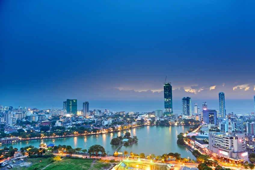 colombo sri lanka city night lights water bay