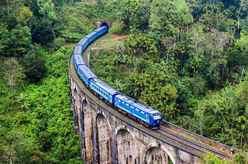 train sri lanka bridge nature landscape blue