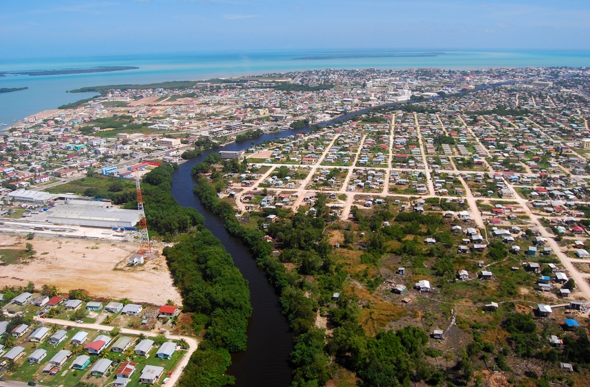belize city coast aerial river buildings cityscape