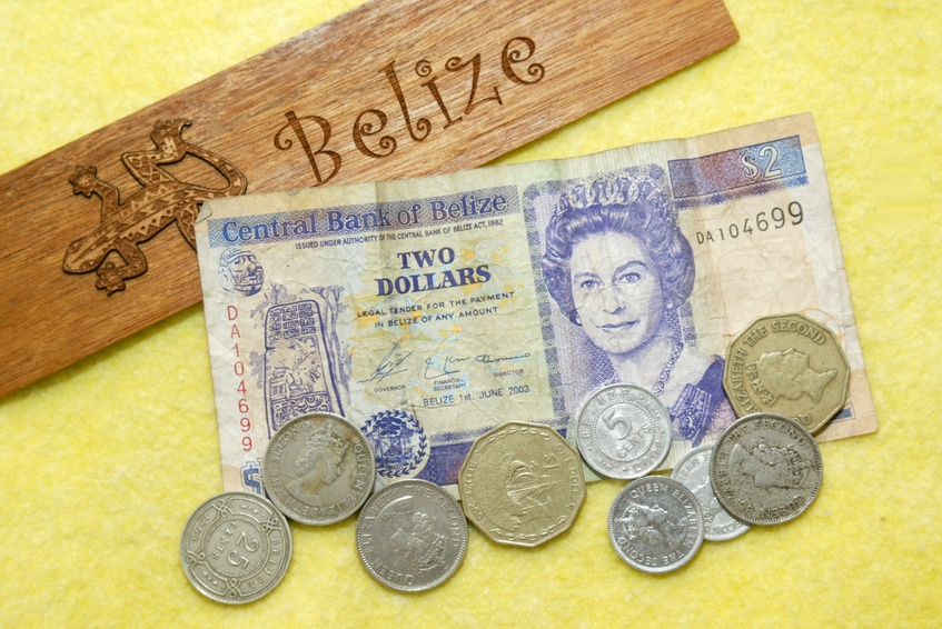 belize coins cash bills dollar currency wood queen