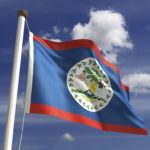belize flag blue red coat of arms logging