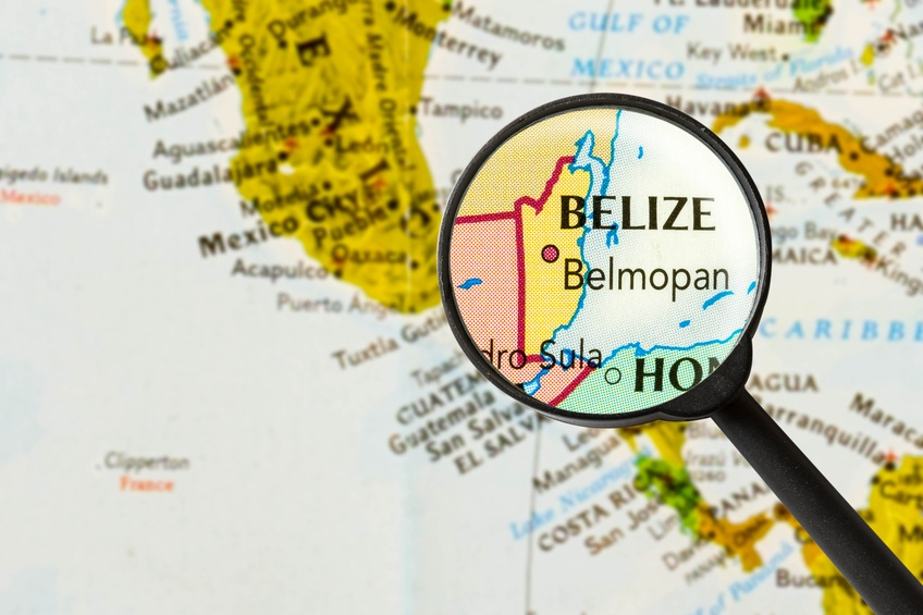map belize central america caribbean magnifying glass