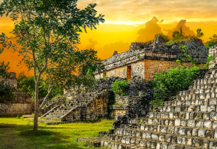 belize maya mayan ancient sunset