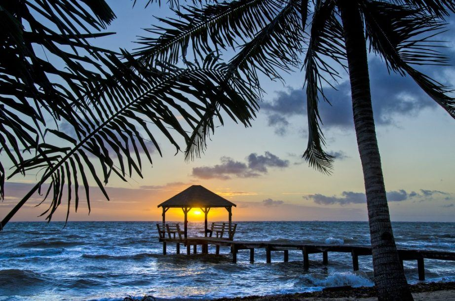 travel belize coast sunset caribbean sea palm tree