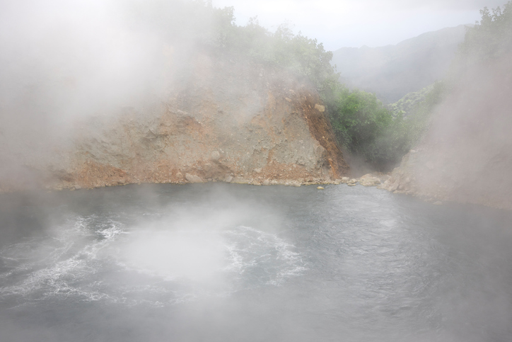 boiling lake dominica hot spring steam