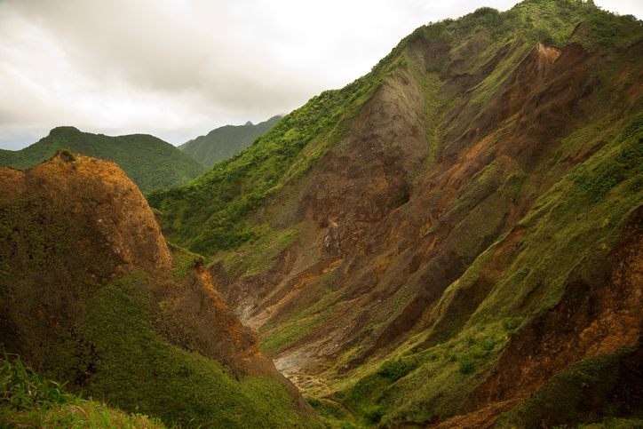 valley of desolation dominica volcanic barren mountains