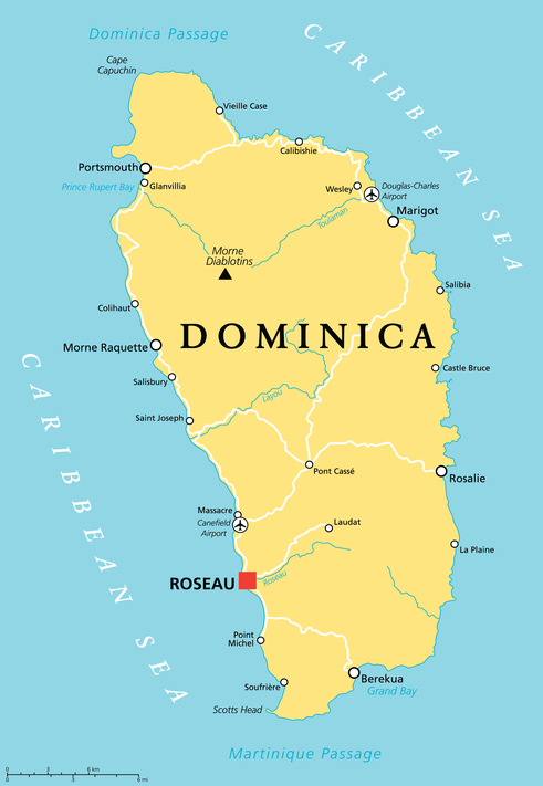 dominica map island caribbean